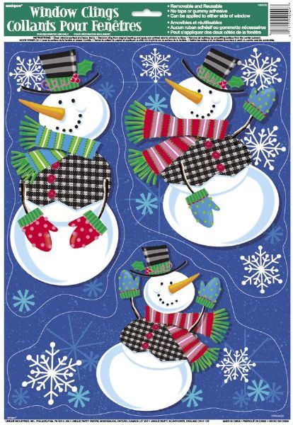 Jolly Snowman Window Clings Sheet